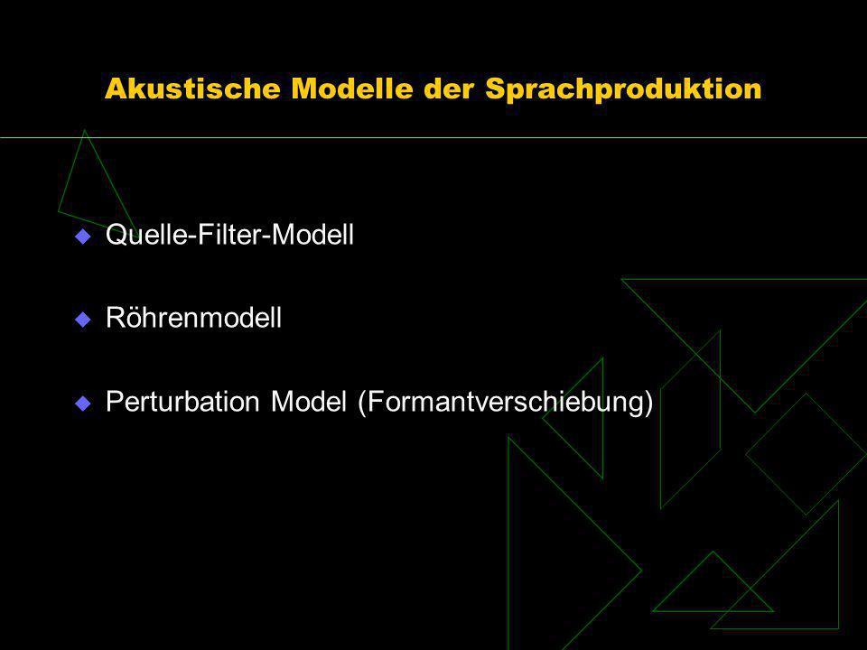 Akustische Modelle der Sprachproduktion Quelle-Filter-Modell Röhrenmodell Perturbation Model (Formantverschiebung)