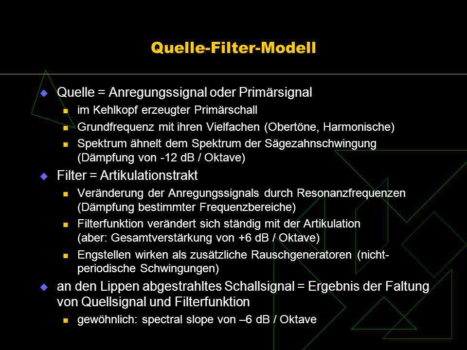 Quelle-Filter-Modell Quelle = Anregungssignal oder Primärsignal im Kehlkopf erzeugter Primärschall Grundfrequenz mit ihren Vielfachen (Obertöne, Harmo