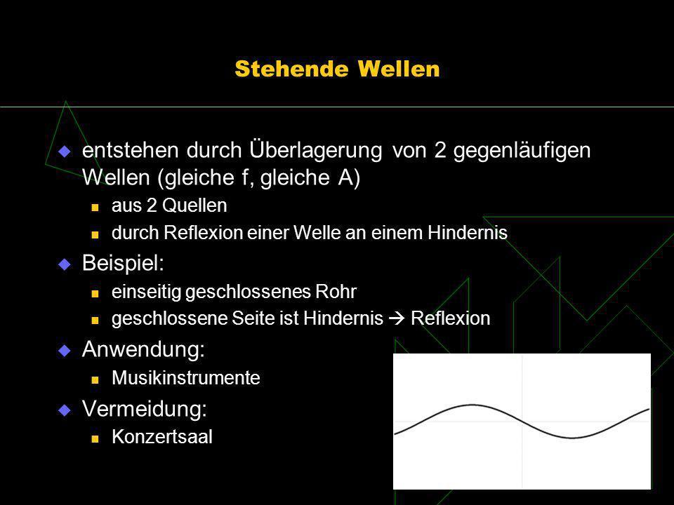 Stehende Wellen entstehen durch Überlagerung von 2 gegenläufigen Wellen (gleiche f, gleiche A) aus 2 Quellen durch Reflexion einer Welle an einem Hind