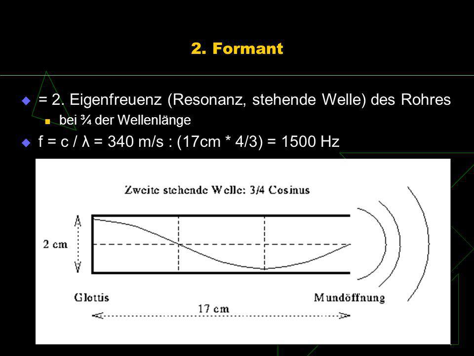 2. Formant = 2. Eigenfreuenz (Resonanz, stehende Welle) des Rohres bei ¾ der Wellenlänge f = c / λ = 340 m/s : (17cm * 4/3) = 1500 Hz