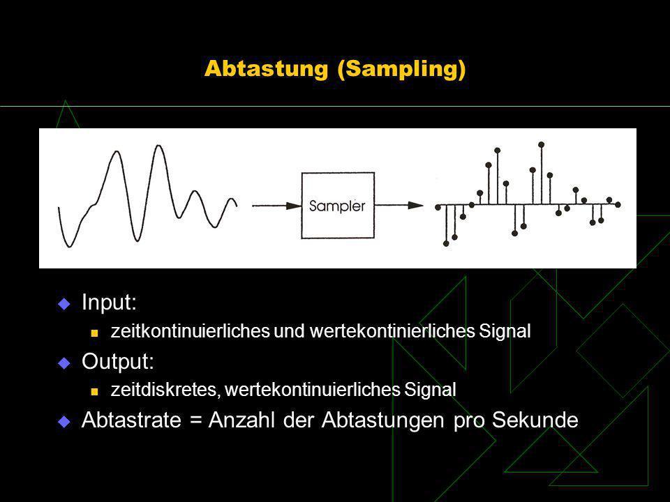 Abtastung (Sampling) Input: zeitkontinuierliches und wertekontinierliches Signal Output: zeitdiskretes, wertekontinuierliches Signal Abtastrate = Anza