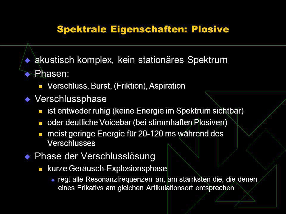 Spektrale Eigenschaften: Plosive akustisch komplex, kein stationäres Spektrum Phasen: Verschluss, Burst, (Friktion), Aspiration Verschlussphase ist en