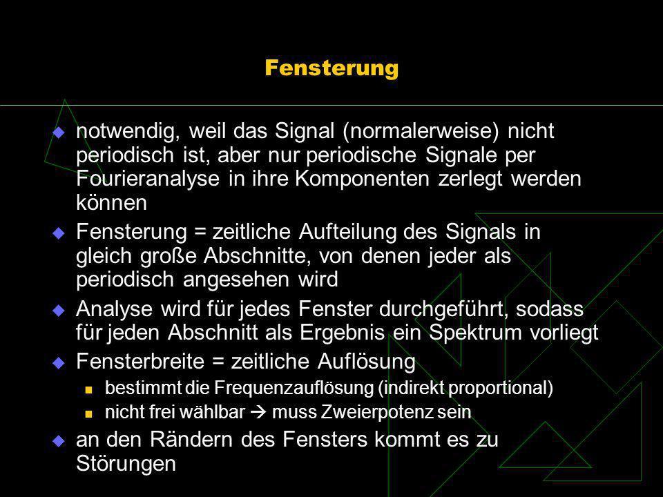 Fensterung notwendig, weil das Signal (normalerweise) nicht periodisch ist, aber nur periodische Signale per Fourieranalyse in ihre Komponenten zerleg
