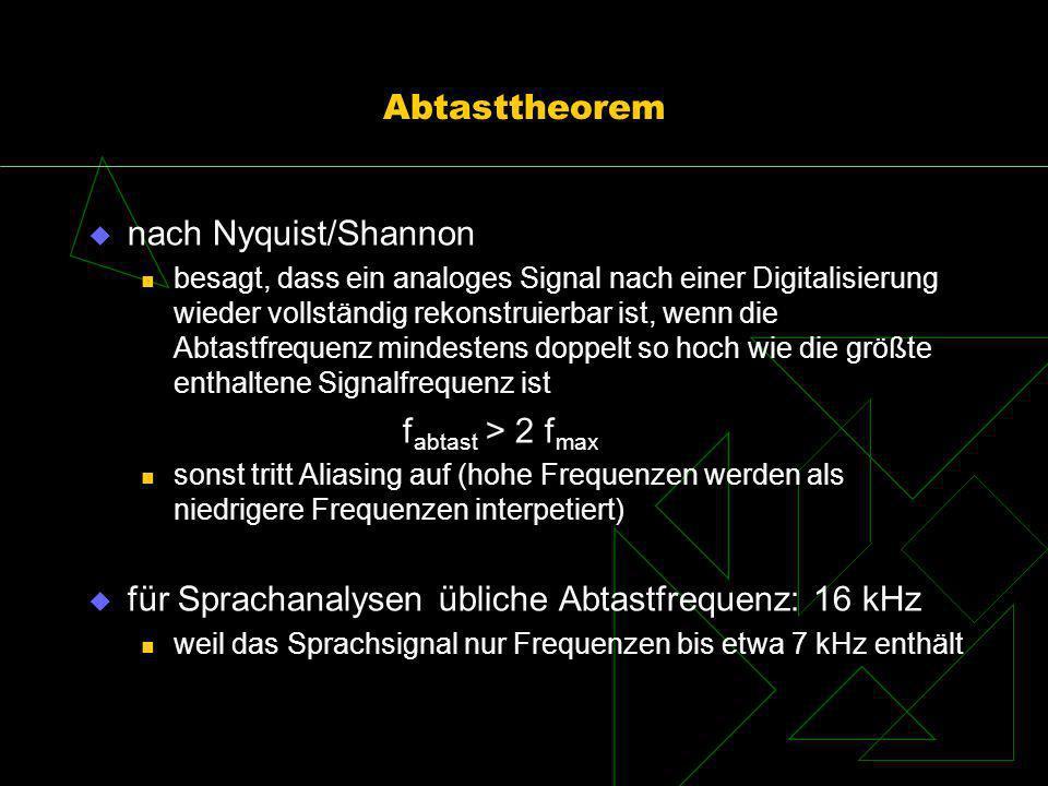 Abtasttheorem nach Nyquist/Shannon besagt, dass ein analoges Signal nach einer Digitalisierung wieder vollständig rekonstruierbar ist, wenn die Abtast