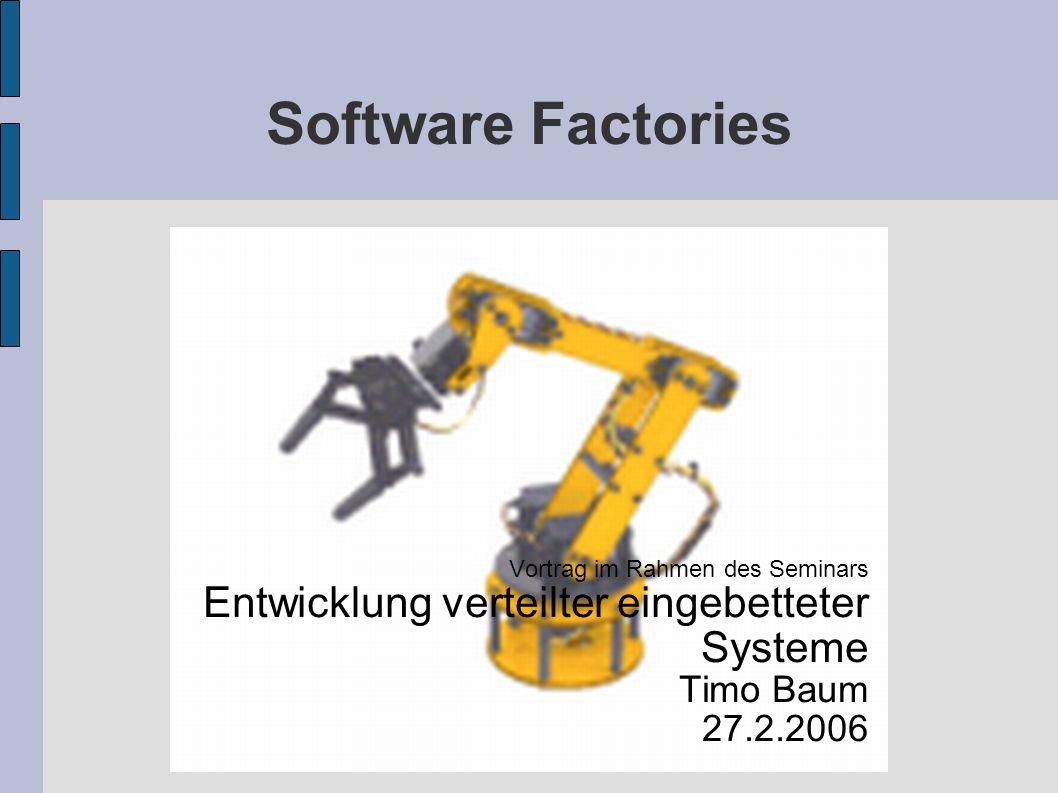 Software Factories27.2.20062 Tendenzen in der Softwareindustrie Zunehmende Komplexität in der Softwareentwicklung Verlagerung der Entwicklung von der Unterstützung der Produktivität von Systemen und von Entwicklern (um deren Effektivität zu erhöhen) zu Anwendungen, die Geschäftsprozesse automatisieren Anforderungen ändern sich immer schneller