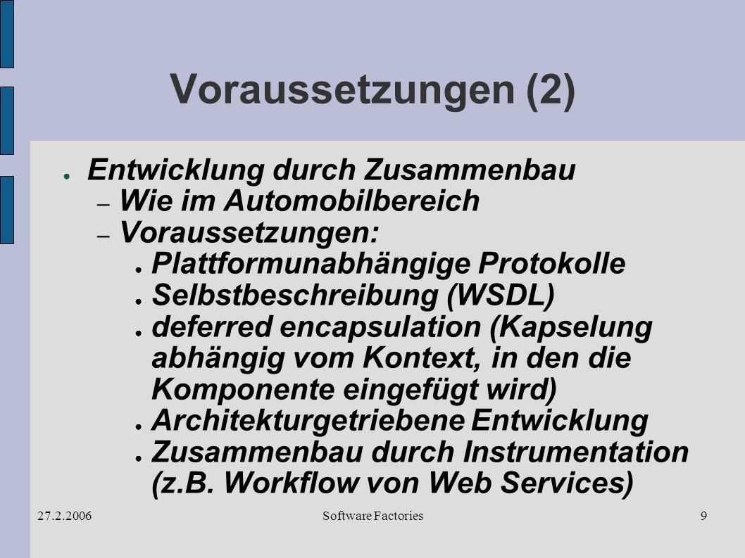 Software Factories27.2.20069 Voraussetzungen (2) Entwicklung durch Zusammenbau – Wie im Automobilbereich – Voraussetzungen: Plattformunabhängige Protokolle Selbstbeschreibung (WSDL) deferred encapsulation (Kapselung abhängig vom Kontext, in den die Komponente eingefügt wird) Architekturgetriebene Entwicklung Zusammenbau durch Instrumentation (z.B.