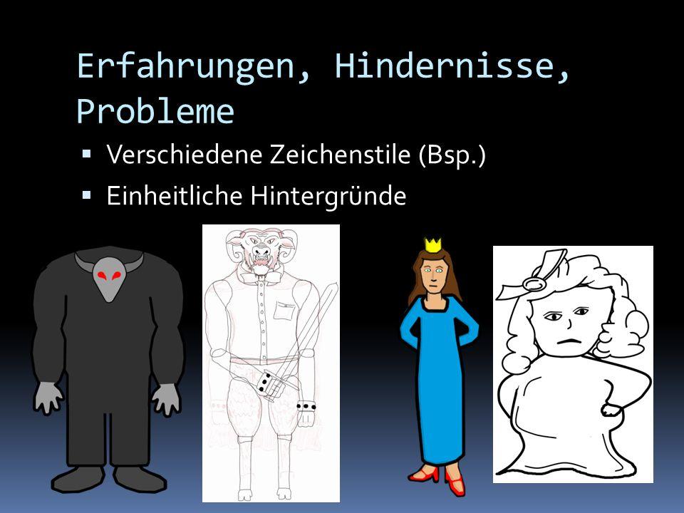 Erfahrungen, Hindernisse, Probleme Verschiedene Zeichenstile (Bsp.) Einheitliche Hintergründe