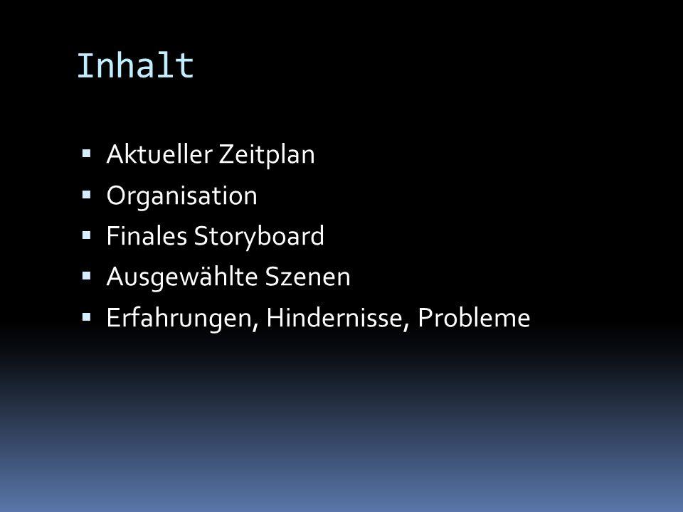 Inhalt Aktueller Zeitplan Organisation Finales Storyboard Ausgewählte Szenen Erfahrungen, Hindernisse, Probleme