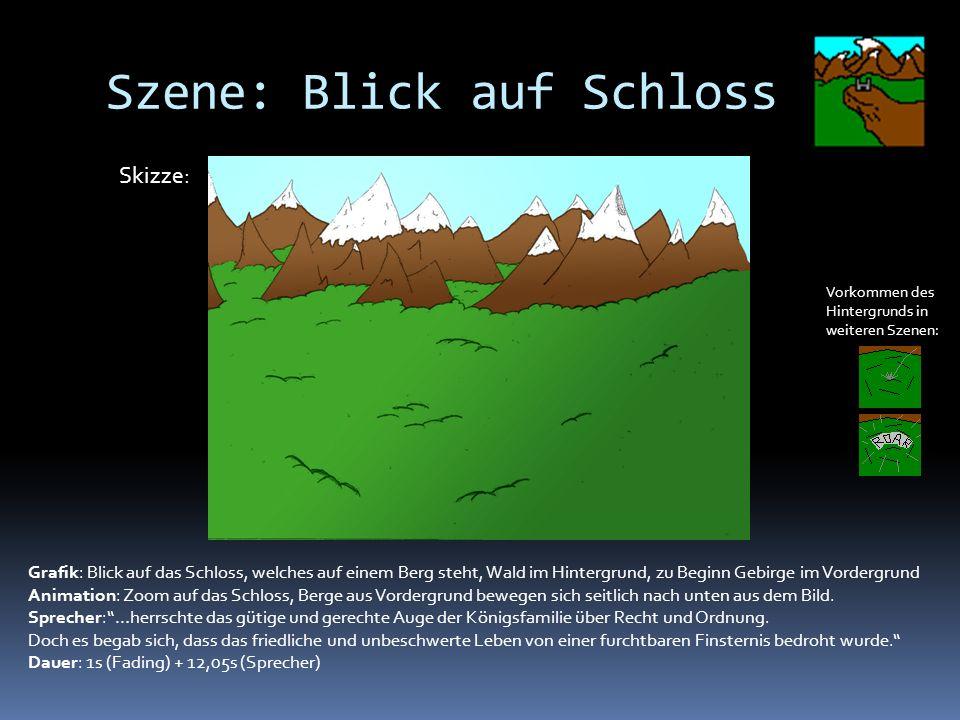 Szene: Blick auf Schloss Vorkommen des Hintergrunds in weiteren Szenen: Grafik: Blick auf das Schloss, welches auf einem Berg steht, Wald im Hintergrund, zu Beginn Gebirge im Vordergrund Animation: Zoom auf das Schloss, Berge aus Vordergrund bewegen sich seitlich nach unten aus dem Bild.