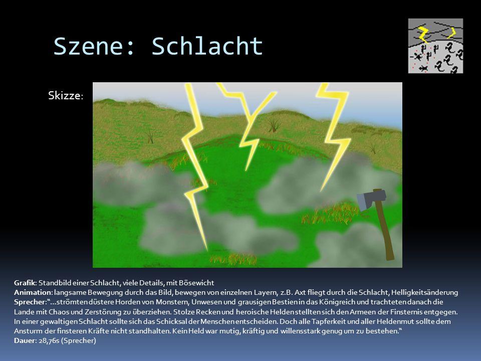 Szene: Schlacht Grafik: Standbild einer Schlacht, viele Details, mit Bösewicht Animation: langsame Bewegung durch das Bild, bewegen von einzelnen Layern, z.B.
