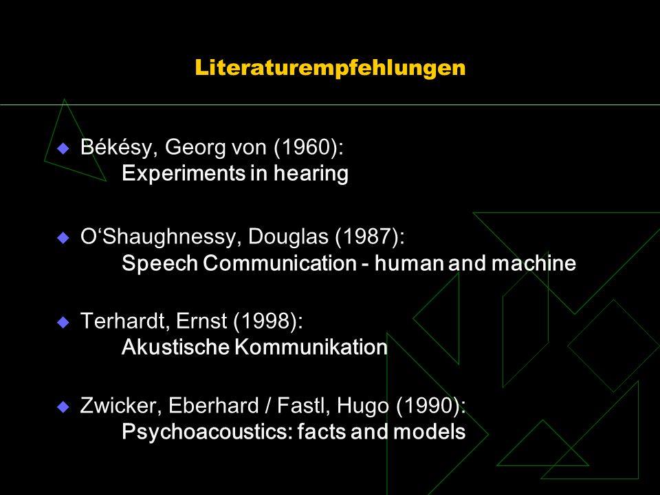Literaturempfehlungen Békésy, Georg von (1960): Experiments in hearing OShaughnessy, Douglas (1987): Speech Communication - human and machine Terhardt