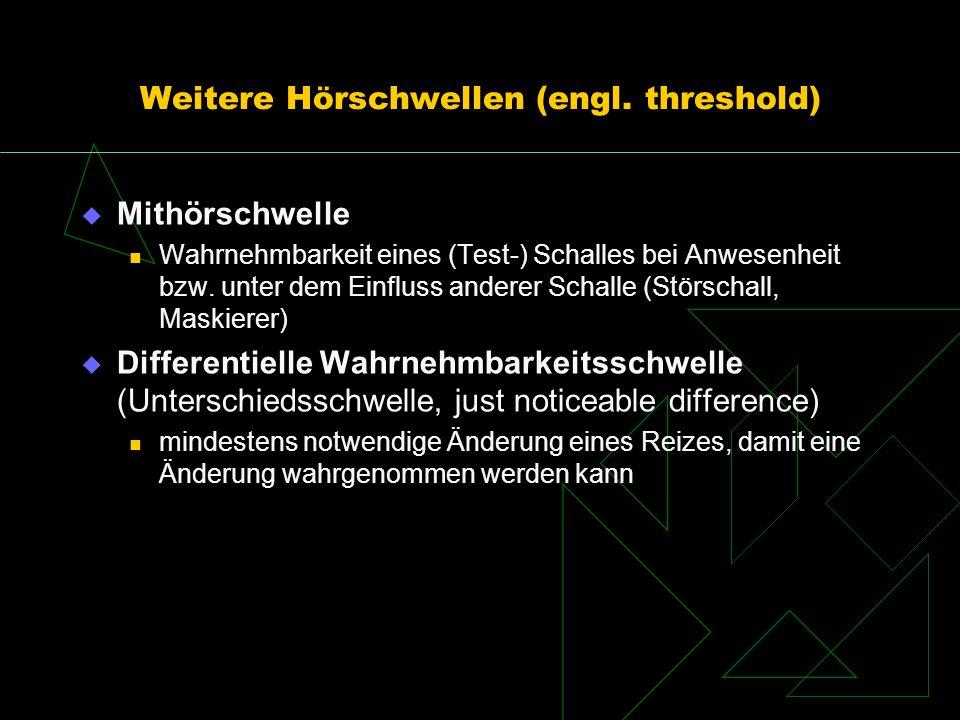 Weitere Hörschwellen (engl. threshold) Mithörschwelle Wahrnehmbarkeit eines (Test-) Schalles bei Anwesenheit bzw. unter dem Einfluss anderer Schalle (