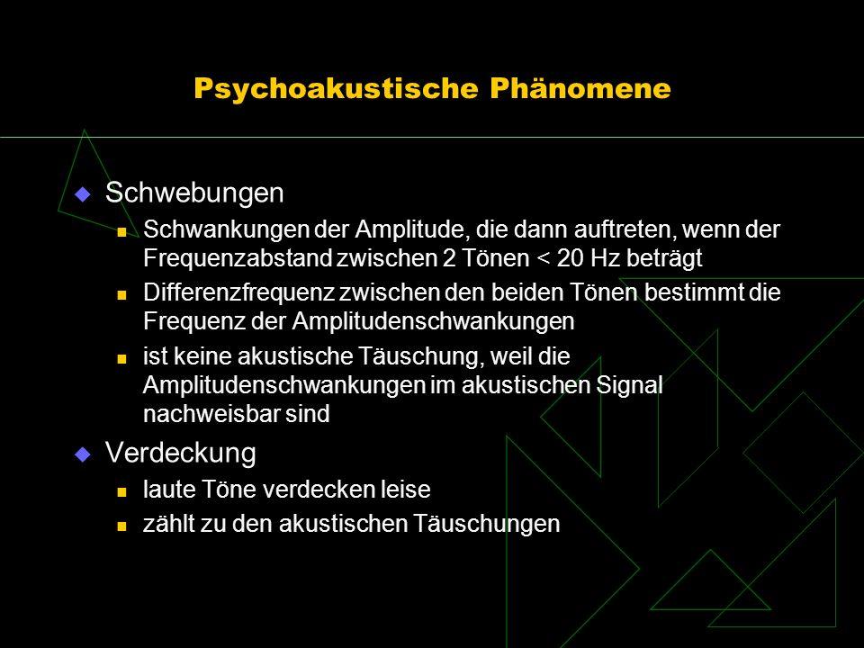 Psychoakustische Phänomene Schwebungen Schwankungen der Amplitude, die dann auftreten, wenn der Frequenzabstand zwischen 2 Tönen < 20 Hz beträgt Diffe