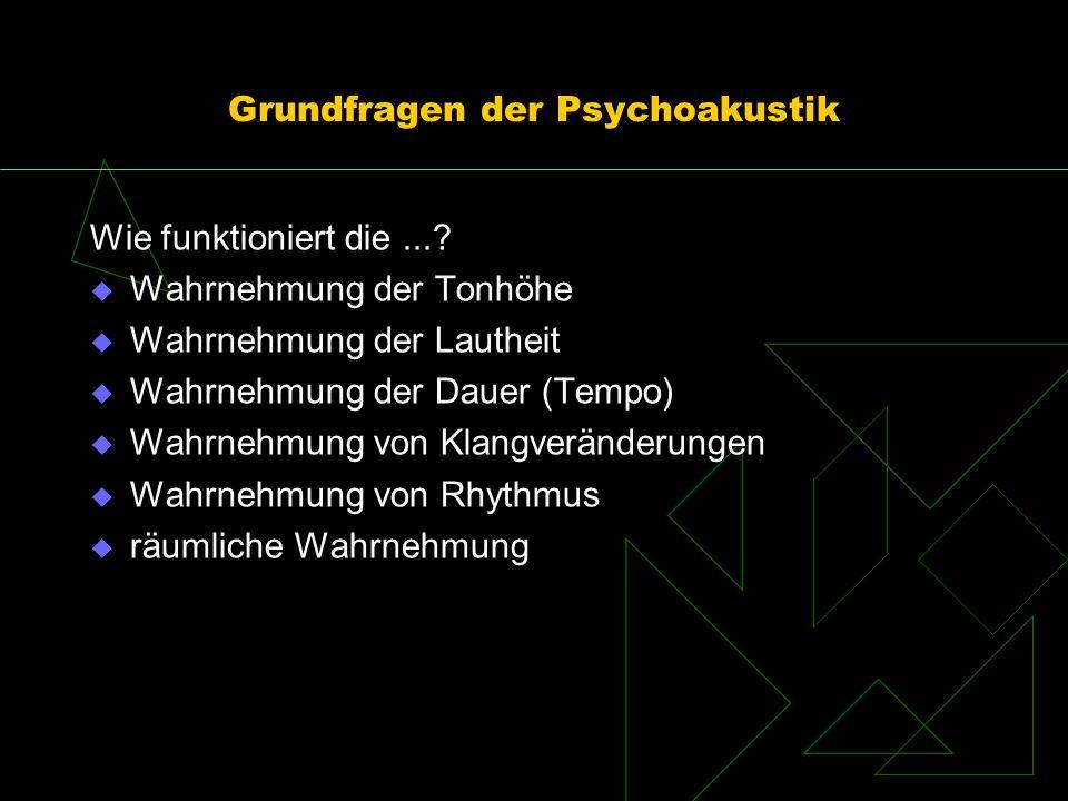 Grundfragen der Psychoakustik Wie funktioniert die...? Wahrnehmung der Tonhöhe Wahrnehmung der Lautheit Wahrnehmung der Dauer (Tempo) Wahrnehmung von