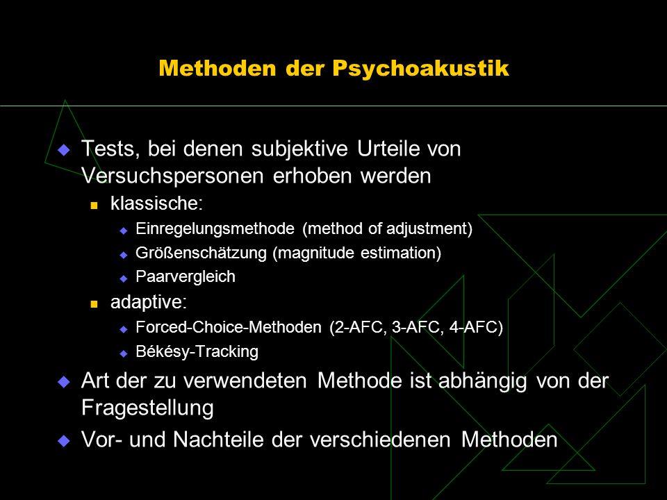 Methoden der Psychoakustik Tests, bei denen subjektive Urteile von Versuchspersonen erhoben werden klassische: Einregelungsmethode (method of adjustme