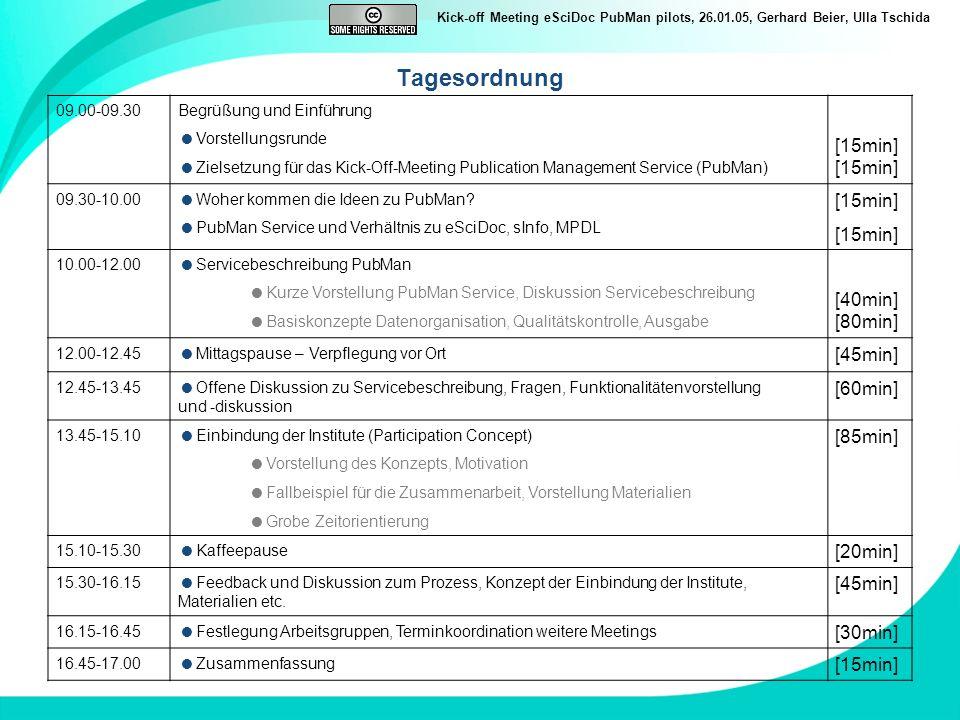 Kick-off Meeting eSciDoc PubMan pilots, 26.01.05, Gerhard Beier, Ulla Tschida Tagesordnung 09.00-09.30Begrüßung und Einführung Vorstellungsrunde Ziels