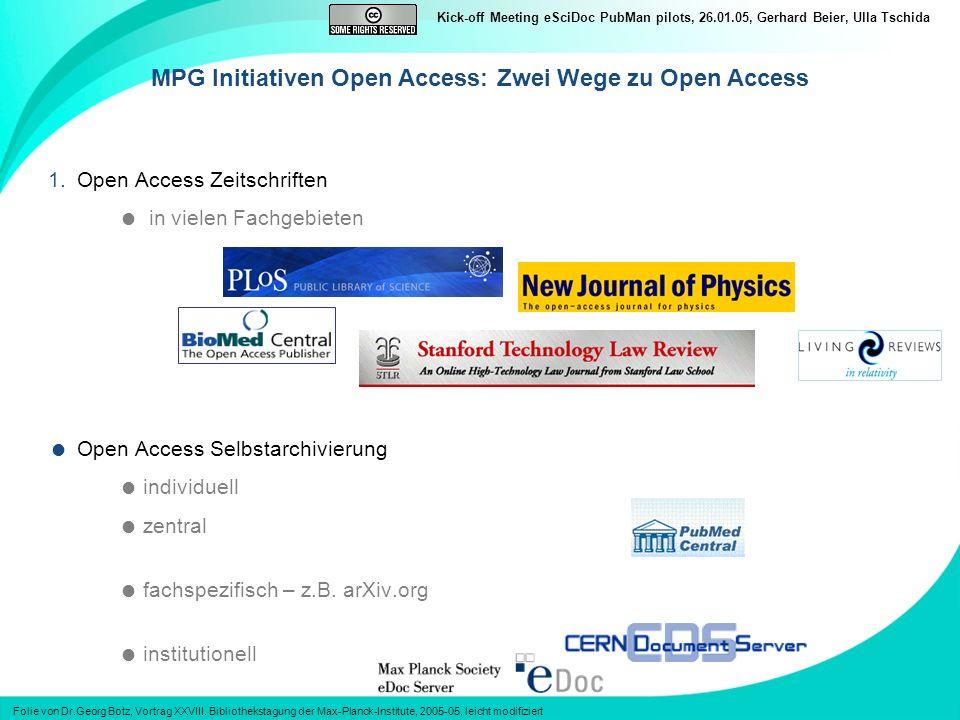 Kick-off Meeting eSciDoc PubMan pilots, 26.01.05, Gerhard Beier, Ulla Tschida 1.Open Access Zeitschriften in vielen Fachgebieten Open Access Selbstarchivierung individuell zentral fachspezifisch – z.B.