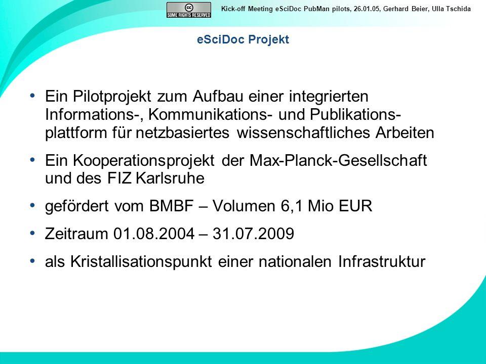 Kick-off Meeting eSciDoc PubMan pilots, 26.01.05, Gerhard Beier, Ulla Tschida eSciDoc Projekt Ein Pilotprojekt zum Aufbau einer integrierten Informati
