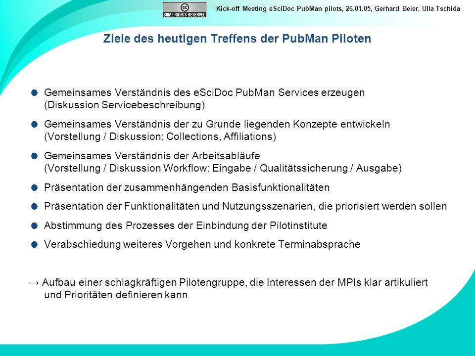 Kick-off Meeting eSciDoc PubMan pilots, 26.01.05, Gerhard Beier, Ulla Tschida Ziele des heutigen Treffens der PubMan Piloten Gemeinsames Verständnis d