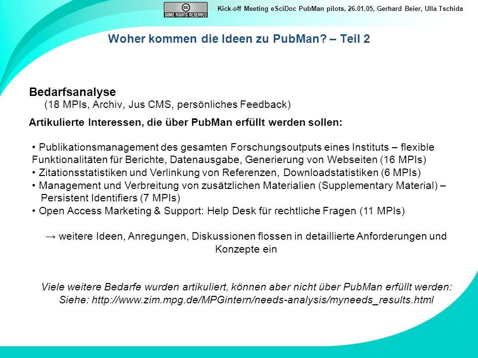 Kick-off Meeting eSciDoc PubMan pilots, 26.01.05, Gerhard Beier, Ulla Tschida Woher kommen die Ideen zu PubMan? – Teil 2 Bedarfsanalyse (18 MPIs, Arch