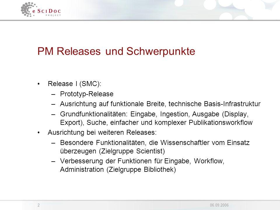 206.09.2006 PM Releases und Schwerpunkte Release I (SMC): –Prototyp-Release –Ausrichtung auf funktionale Breite, technische Basis-Infrastruktur –Grund