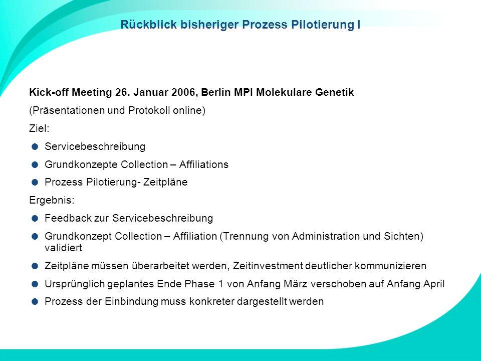 Rückblick bisheriger Prozess Pilotierung I Kick-off Meeting 26. Januar 2006, Berlin MPI Molekulare Genetik (Präsentationen und Protokoll online) Ziel: