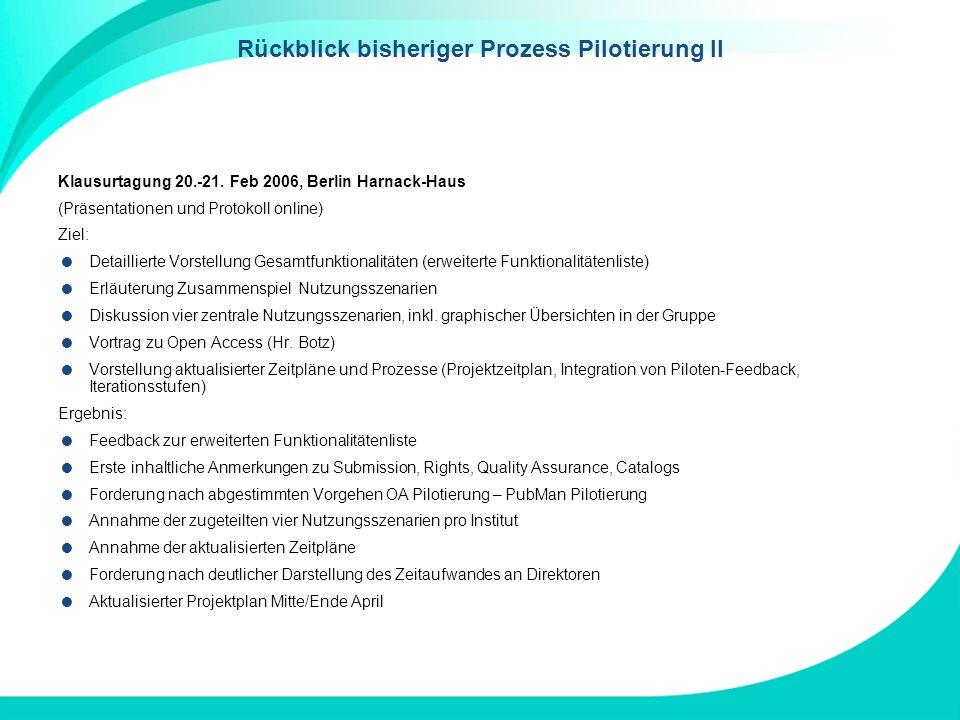 Rückblick bisheriger Prozess Pilotierung II Klausurtagung 20.-21. Feb 2006, Berlin Harnack-Haus (Präsentationen und Protokoll online) Ziel: Detaillier