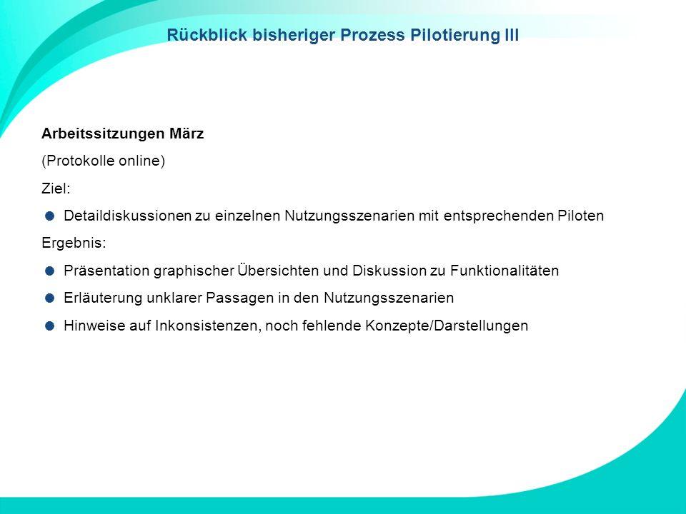 Rückblick bisheriger Prozess Pilotierung III Arbeitssitzungen März (Protokolle online) Ziel: Detaildiskussionen zu einzelnen Nutzungsszenarien mit ent