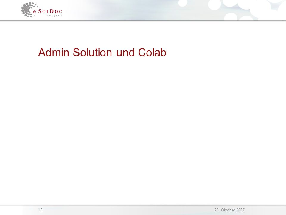 1329. Oktober 2007 Admin Solution und Colab