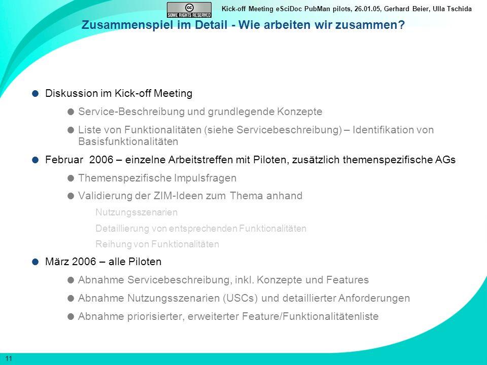 11 Kick-off Meeting eSciDoc PubMan pilots, 26.01.05, Gerhard Beier, Ulla Tschida Zusammenspiel im Detail - Wie arbeiten wir zusammen? Diskussion im Ki
