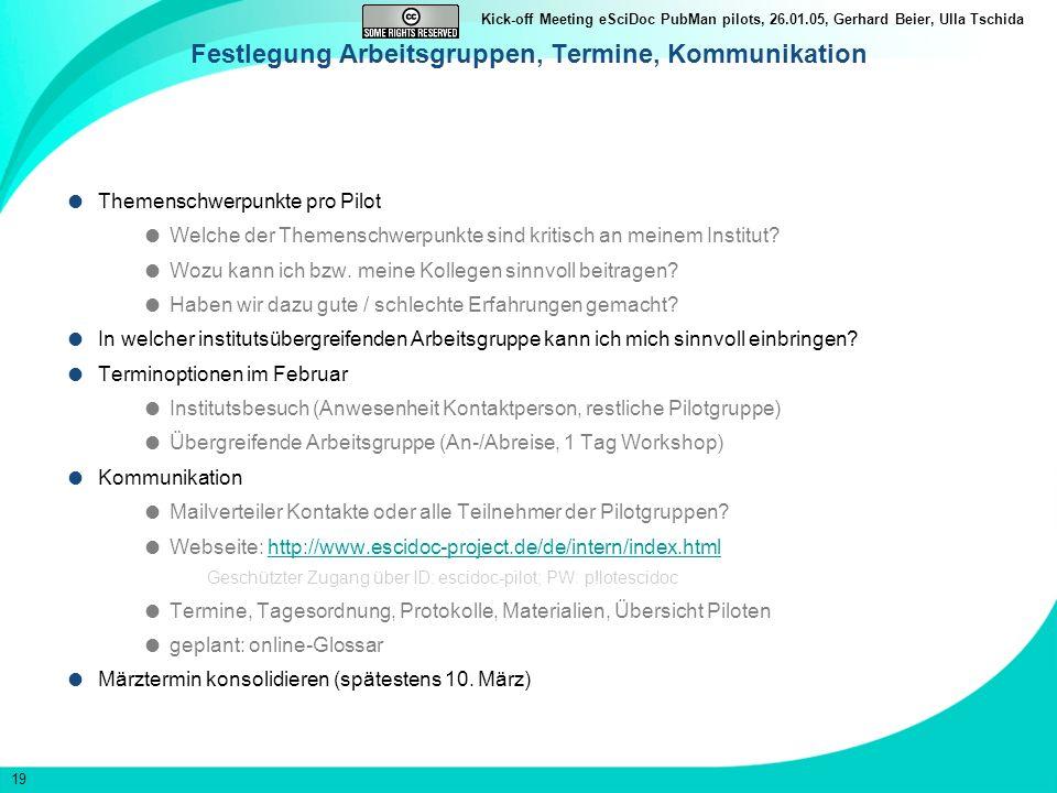19 Kick-off Meeting eSciDoc PubMan pilots, 26.01.05, Gerhard Beier, Ulla Tschida Festlegung Arbeitsgruppen, Termine, Kommunikation Themenschwerpunkte