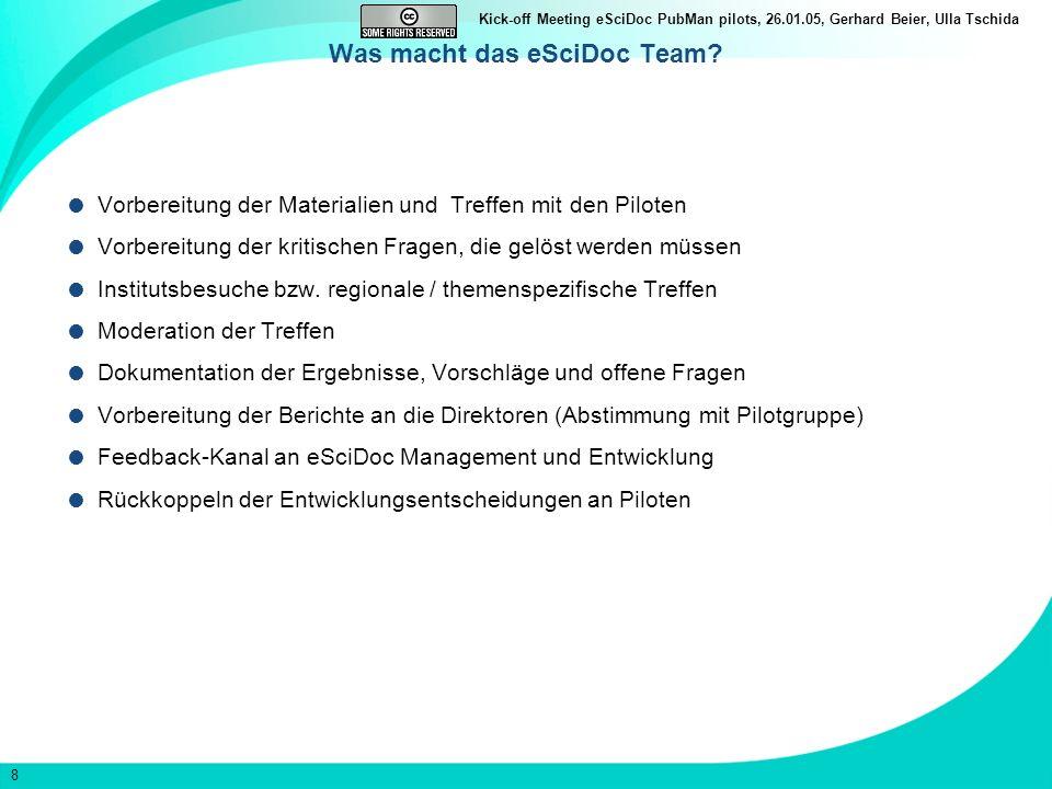 8 Kick-off Meeting eSciDoc PubMan pilots, 26.01.05, Gerhard Beier, Ulla Tschida Was macht das eSciDoc Team? Vorbereitung der Materialien und Treffen m