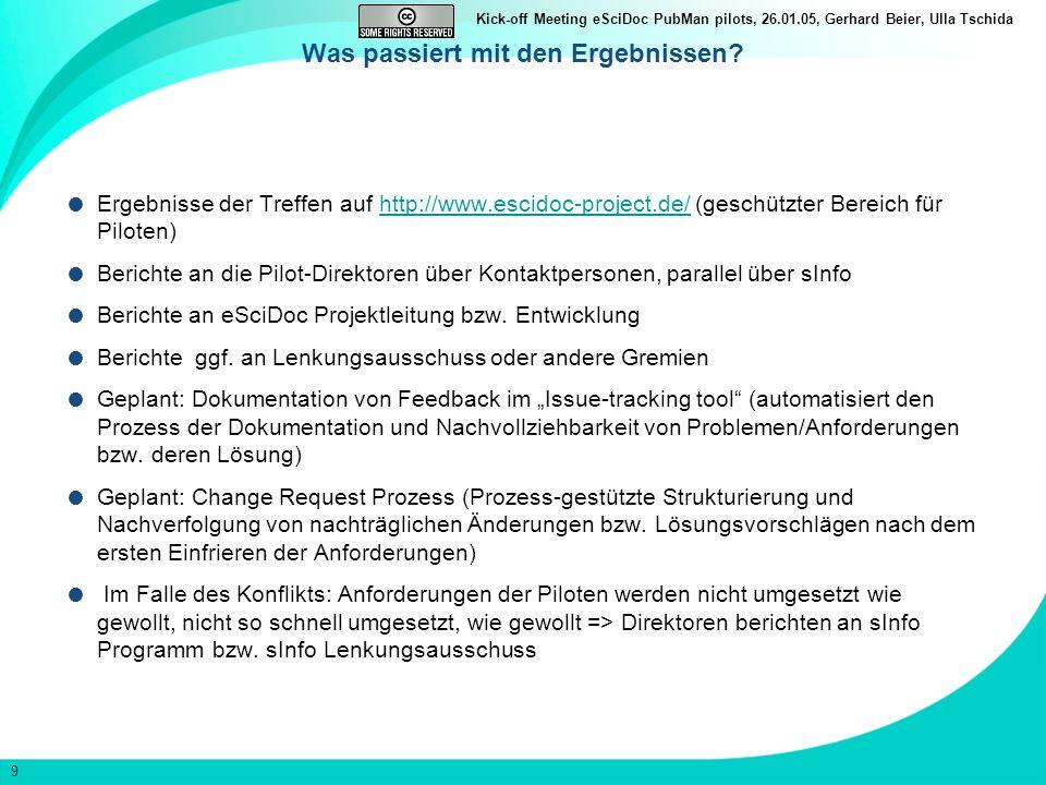 9 Kick-off Meeting eSciDoc PubMan pilots, 26.01.05, Gerhard Beier, Ulla Tschida Was passiert mit den Ergebnissen.