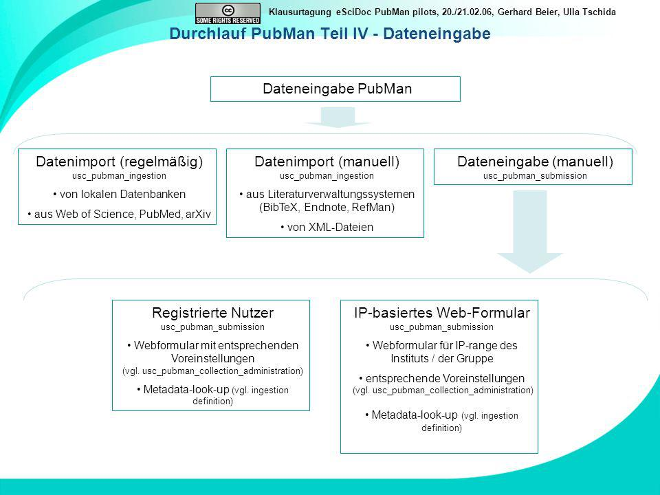 Klausurtagung eSciDoc PubMan pilots, 20./21.02.06, Gerhard Beier, Ulla Tschida Durchlauf PubMan Teil IV - Dateneingabe Dateneingabe PubMan Datenimport