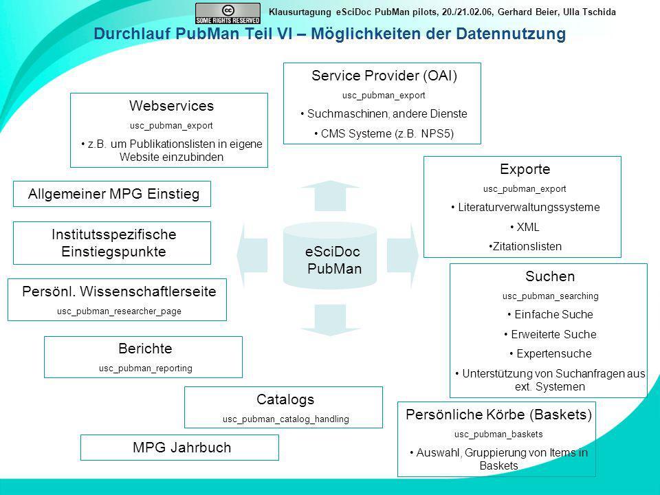 Klausurtagung eSciDoc PubMan pilots, 20./21.02.06, Gerhard Beier, Ulla Tschida Durchlauf PubMan Teil VI – Möglichkeiten der Datennutzung eSciDoc PubMa