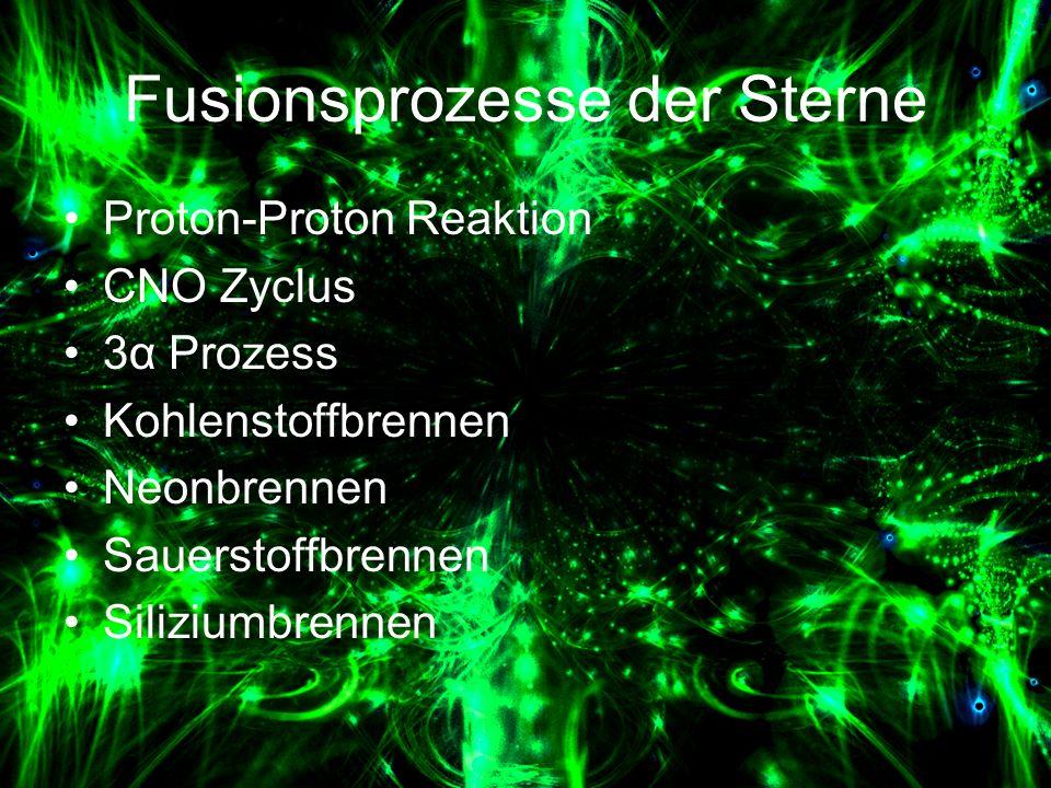 Fusionsprozesse der Sterne Proton-Proton Reaktion CNO Zyclus 3α Prozess Kohlenstoffbrennen Neonbrennen Sauerstoffbrennen Siliziumbrennen