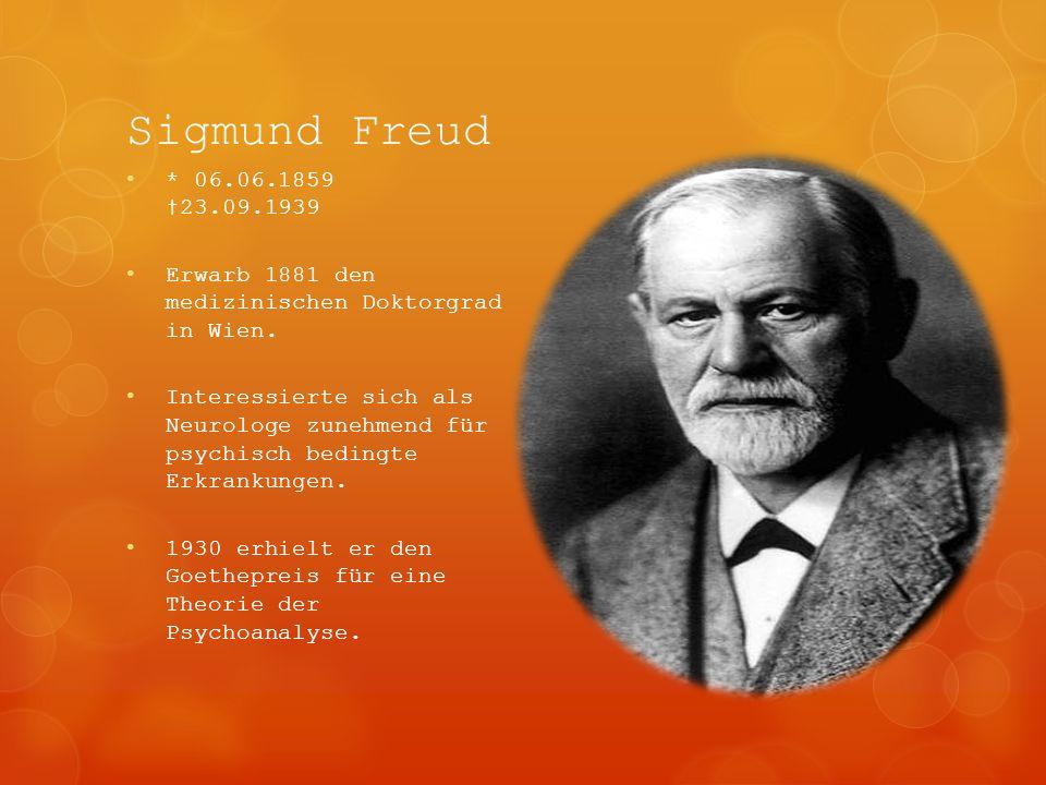 Sigmund Freud * 06.06.1859 23.09.1939 Erwarb 1881 den medizinischen Doktorgrad in Wien. Interessierte sich als Neurologe zunehmend für psychisch bedin