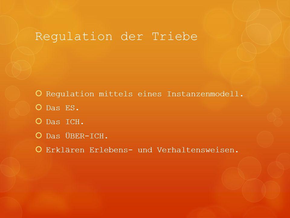 Regulation der Triebe Regulation mittels eines Instanzenmodell. Das ES. Das ICH. Das ÜBER-ICH. Erklären Erlebens- und Verhaltensweisen.