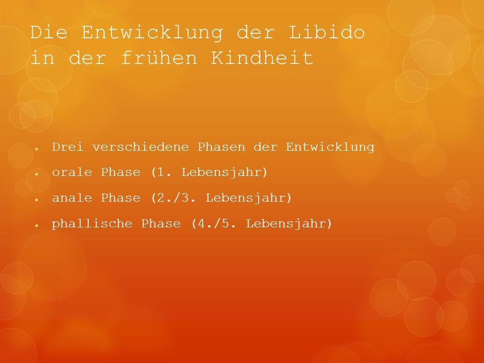 Die Entwicklung der Libido in der frühen Kindheit Drei verschiedene Phasen der Entwicklung orale Phase (1. Lebensjahr) anale Phase (2./3. Lebensjahr)