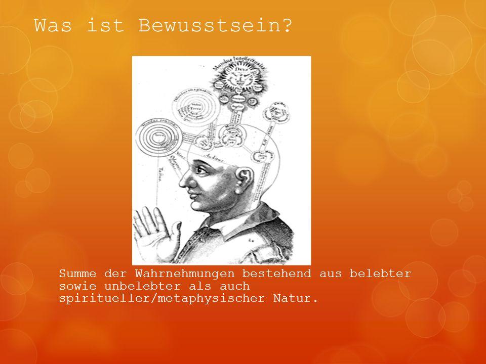 Was ist Bewusstsein? Summe der Wahrnehmungen bestehend aus belebter sowie unbelebter als auch spiritueller/metaphysischer Natur.