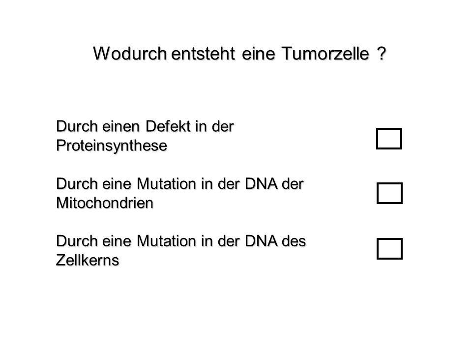 Wodurch entsteht eine Tumorzelle ? Durch eine Mutation in der DNA des Zellkerns Durch einen Defekt in der Proteinsynthese Durch eine Mutation in der D