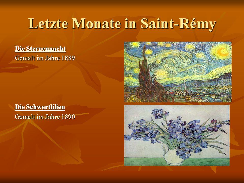 Letzte Monate in Saint-Rémy Die Sternennacht Gemalt im Jahre 1889 Die Schwertlilien Gemalt im Jahre 1890