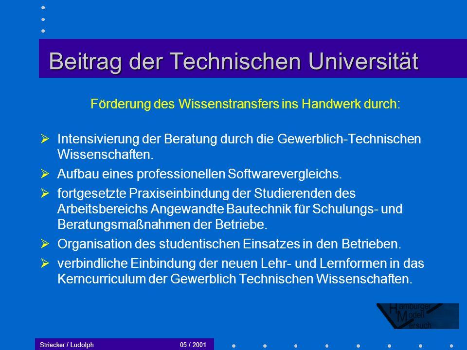 Striecker / Ludolph05 / 2001 Zukunftsmodell für Hamburg Die Weiterführung des Modellversuchs durch den Förderverein Holz- EDV ist für die nächsten 2-3 Jahre gesichert.