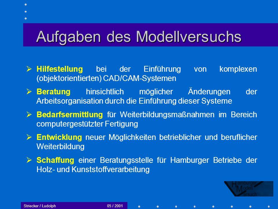 Striecker / Ludolph05 / 2001 Notwendigkeit neuer Weiterbildungskonzepte Institutionalisierte Formen der Weiterbildung können vom Ansatz her nicht direkt auf spezielle Fragen des Wandels von C- Technologien reagieren.