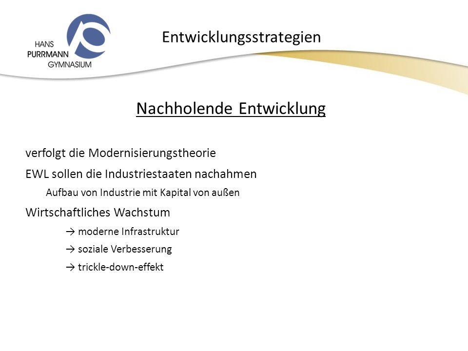 Entwicklungsstrategien Nachholende Entwicklung verfolgt die Modernisierungstheorie EWL sollen die Industriestaaten nachahmen Aufbau von Industrie mit Kapital von außen Wirtschaftliches Wachstum moderne Infrastruktur soziale Verbesserung trickle-down-effekt 14.12.2010