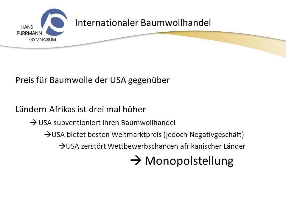 Internationaler Baumwollhandel Preis für Baumwolle der USA gegenüber Ländern Afrikas ist drei mal höher USA subventioniert ihren Baumwollhandel USA bietet besten Weltmarktpreis (jedoch Negativgeschäft) USA zerstört Wettbewerbschancen afrikanischer Länder Monopolstellung