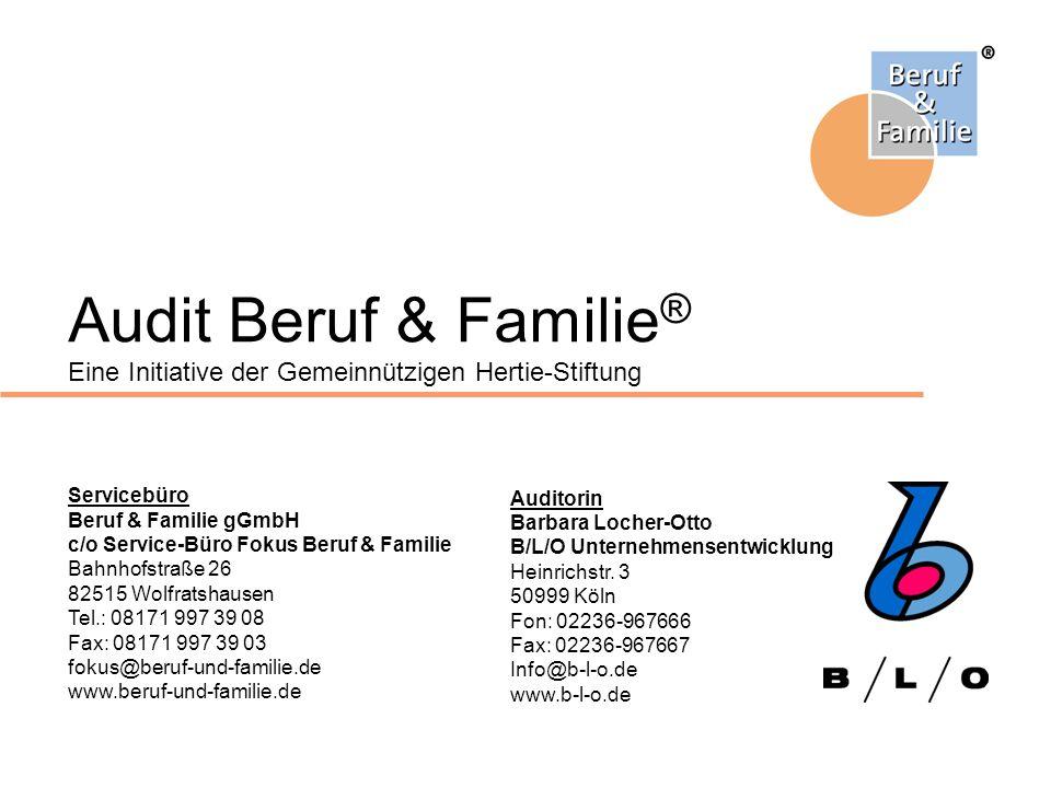 Audit Beruf & Familie ® Eine Initiative der Gemeinnützigen Hertie-Stiftung Servicebüro Beruf & Familie gGmbH c/o Service-Büro Fokus Beruf & Familie Ba