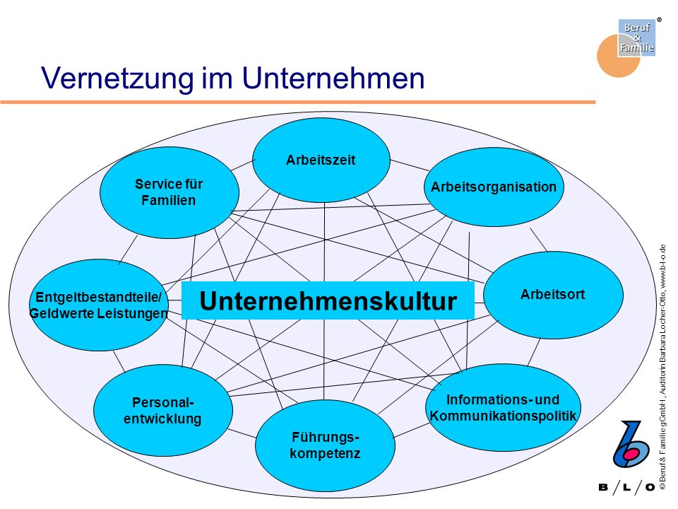 © Beruf & Familie gGmbH, Auditorin Barbara Locher-Otto, www.b-l-o.de Vernetzung im Unternehmen Informations- und Kommunikationspolitik Personal- entwi