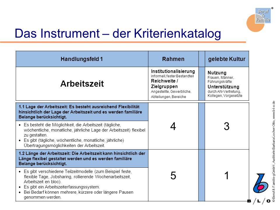 © Beruf & Familie gGmbH, Auditorin Barbara Locher-Otto, www.b-l-o.de Das Instrument – der Kriterienkatalog Handlungsfeld 1Rahmengelebte Kultur Arbeits