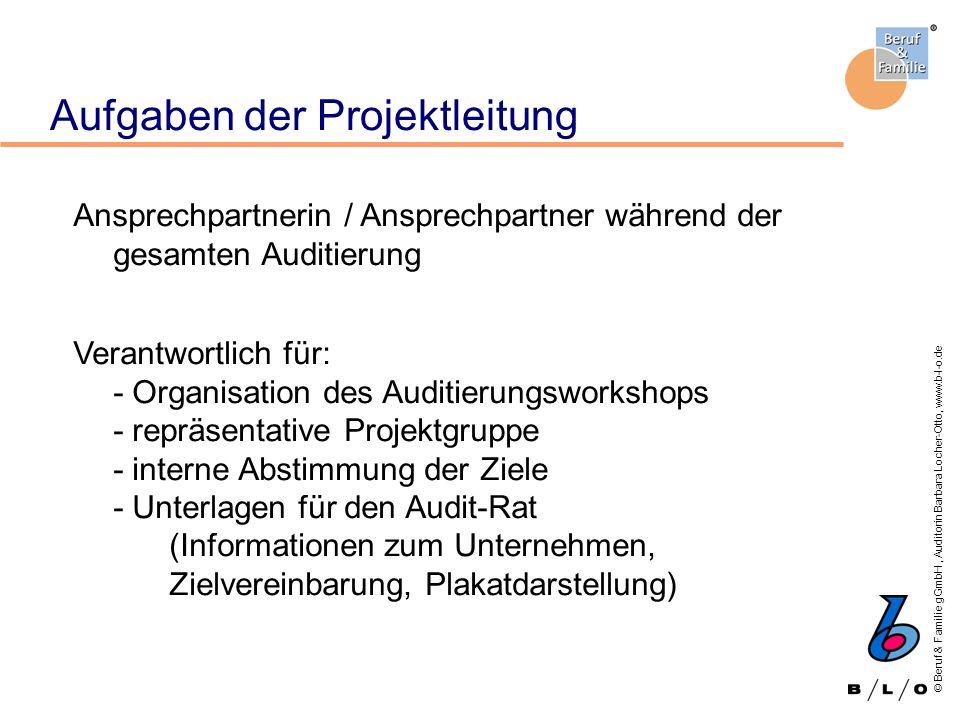 © Beruf & Familie gGmbH, Auditorin Barbara Locher-Otto, www.b-l-o.de Aufgaben der Projektleitung Ansprechpartnerin / Ansprechpartner während der gesam